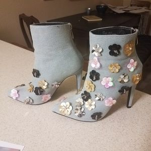 Sequin flowers denim bootie , very Anthropologie